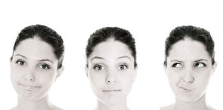 Emotion woman. On white isolated Royalty Free Stock Photography