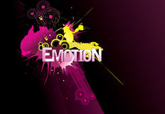 Emotion word. Illustration composition over a purple background Stock Image