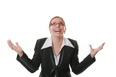 Emotional. Portrait of the beautiful emotional business woman Stock Photography