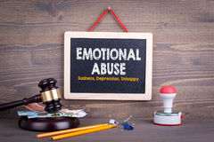 Emotional Abuse concept. Sadness Depression Unhappy. Chalkboard on a wooden background.  Royalty Free Stock Photography