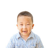 Emotional Asian boy 6 years old, isolated on white background Royalty Free Stock Photo