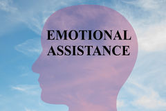 Emotional Assistance concept. Render illustration of EMOTIONAL ASSISTANCE title on head silhouette, with cloudy sky as a background Royalty Free Stock Photography