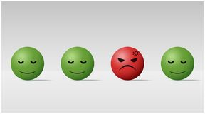 Emotional background with angry face ball among calm face balls. Vector , illustration Royalty Free Stock Photography