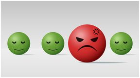 Emotional background with angry face ball among calm face balls. Vector , illustration Stock Photo