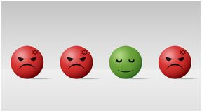 Emotional background with calm face ball among angry face balls. Vector , illustration Royalty Free Stock Photography