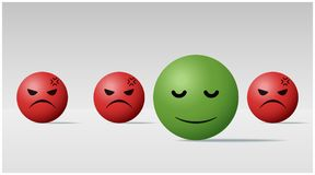 Emotional background with calm face ball among angry face balls. Vector , illustration Royalty Free Stock Image