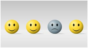 Emotional background with sad face ball among happy face balls. Vector , illustration Stock Photo