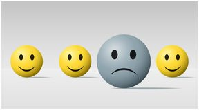 Emotional background with sad face ball among happy face balls. Vector , illustration Royalty Free Stock Image
