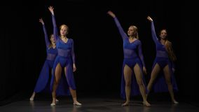 Emotional ballerinas are dancing elements of modern ballet at studio. Emotional ballerinas in purple dresses are dancing elements of a modern ballet in the stock footage