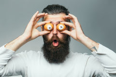 Emotional bearded man with egg eyes Royalty Free Stock Image