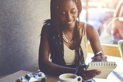 Emotional beautiful afro american woman stock photo