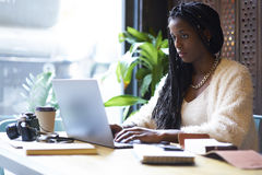 Emotional beautiful afro american woman creating startup project of business company. Concentrated afro american freelancer with cornrows typing on keyboard of Stock Photography