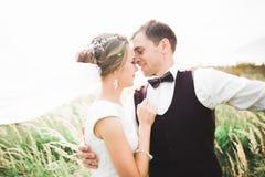 Emotional beautiful bride hugging newlywed groom at a field closeup stock image