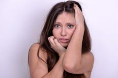 Emotional Beautiful woman  in black underwear Stock Image