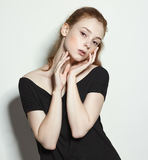 Emotional beauty portraits red-haired girl. Royalty Free Stock Image
