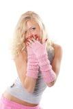 Emotional blonde Stock Photo