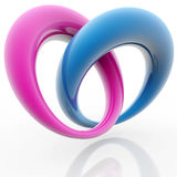 Emotional bond. Blue and pink rings in the shape of heart Stock Photography