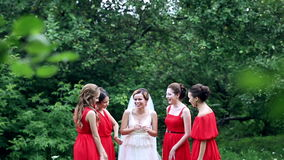 Emotional bride and bridesmaids talking and laughing. Slow motion. stock footage