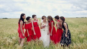 Emotional bride and bridesmaids talking and laughing. Slow motion. stock video footage