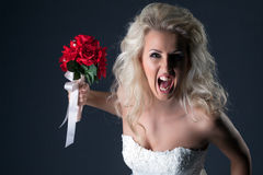 Emotional bride screaming looking at camera Stock Images