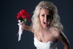 Emotional bride screaming looking at camera Stock Images