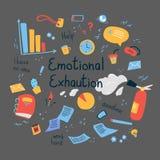 Emotional burning concept.Emotional exhaution text stock photo