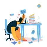 Emotional burnout woman sitting at her desk royalty free stock photography
