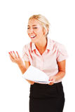 Emotional business woman with a papers Royalty Free Stock Images
