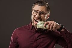Emotional businessman in eyeglasses biting dollar banknotes. Isolated on black royalty free stock photography
