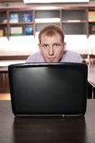 Emotional businessman with laptop Royalty Free Stock Photography