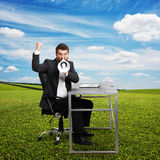 Emotional businessman screaming Stock Photo