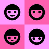 Emotional cartoon icons set great for any use. Vector EPS10. Royalty Free Stock Photo