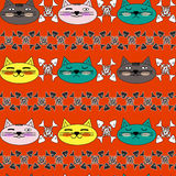 Emotional cat face with bright cheeks and black and white fish skeletons. Seamless pattern. Vector. Royalty Free Stock Images
