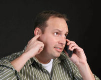 Emotional cell phone man Stock Photo