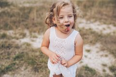 Emotional child girl outdoors Royalty Free Stock Photography