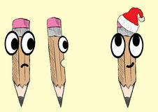 Emotional Christmas pencil Stock Image