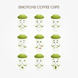 Emotional coffee mugs. Different variations of the persons on mugs Royalty Free Stock Image
