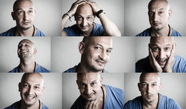 Emotional collage of man. Collage of emotions featuring a shaved man in blue shirt Royalty Free Stock Photos