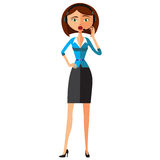 Emotional Costumer Service Call Center Operator On Duty, emotional woman customer service flat cartoon vector illustration. Eps10. Stock Photos