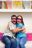 Couple in 3d glasses watching movie Stock Images