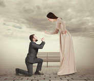 Emotional couple in foggy park Royalty Free Stock Photo
