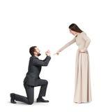 Emotional couple isolated on white Stock Photos