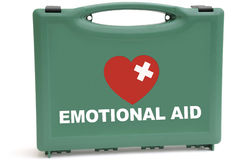Emotional crisis. Concept to illustrate an emotional rescue package, using a first aid box Royalty Free Stock Photo