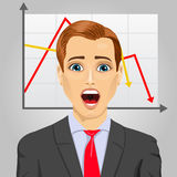 Emotional crying businessman in economic crisis with line graph showing negative trend Stock Photo