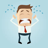 Sad crying cartoon man. Emotional crying cartoon man expresses sadness, anger or frustration Stock Photo