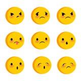 Emotional cute sad triste faces smiles set Stock Photos