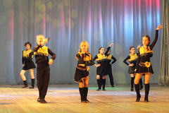 Emotional dancing children. Vocal choreography children's show group sleepyheads on the stage of the Kyiv Palace of children and youth. festivald talent Steps Royalty Free Stock Photo