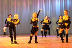 Emotional dancing children. Vocal choreography children's show group sleepyheads on the stage of the Kyiv Palace of children and youth. festivald talent Steps Stock Photo