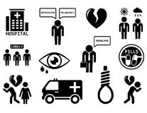 Emotional disorders concept icon set Stock Photos