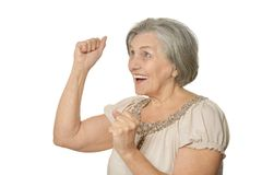 Emotional elderly woman Royalty Free Stock Photography